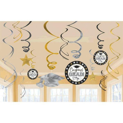 Amscan Graduation Black, Silver & Gold Graduation Swirl Decorations 12ct