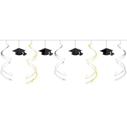 Amscan Graduation Black, Silver & Gold Swirl Graduation Garland