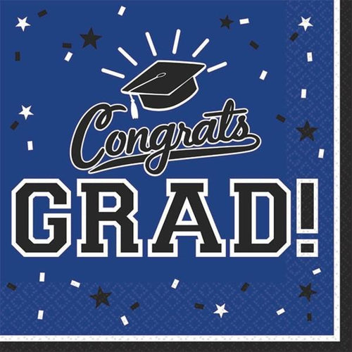 Amscan Graduation Blue Congrats Grad Beverage Napkins 36ct