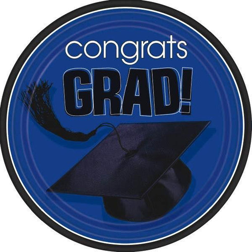 Amscan Graduation Blue Congrats Grad Lunch Plates 18ct