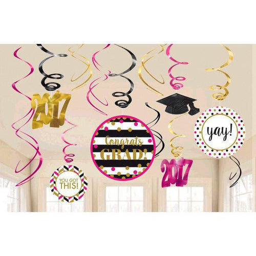 Amscan Graduation Confetti Graduation Swirl Decorations 12ct