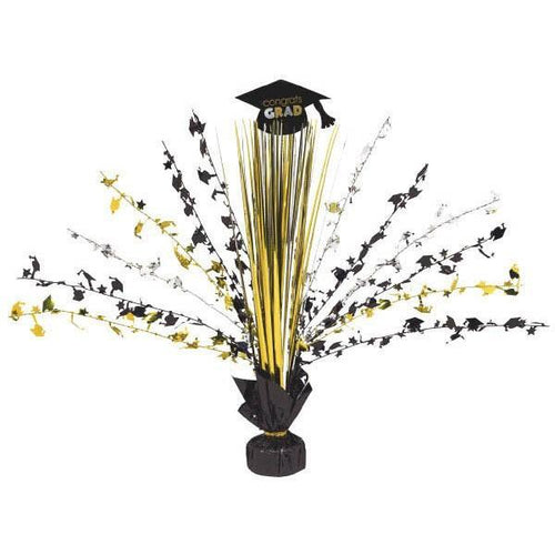 Amscan Graduation Congrats Grad Black, Silver & Gold Graduation Spray Centerpiece