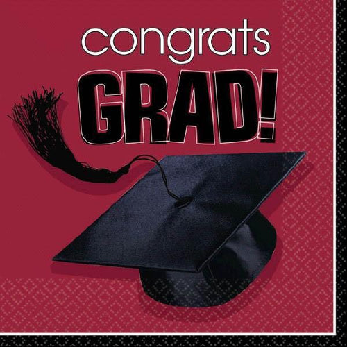Amscan Graduation Congrats Grad Burgundy Graduation Beverage Napkins 36ct