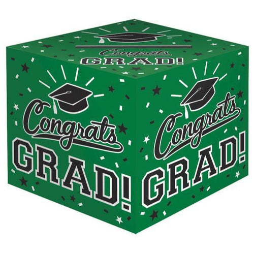 Amscan Graduation Green Congrats Grad Card Holder Box 12""