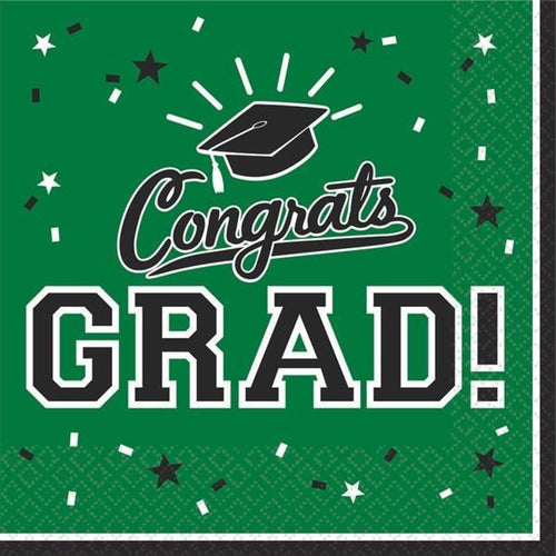 Amscan Graduation Green Congrats Grad Lunch Napkins 36ct