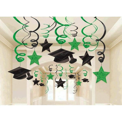 Amscan Graduation Green Graduation Swirl Decorations 30ct