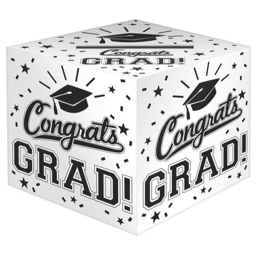 Amscan Graduation White Congrats Grad Card Holder Box 12""