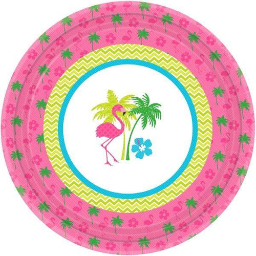 "Amscan Luau Flamingo Fun 10 1/2"" Round Plates 8ct"