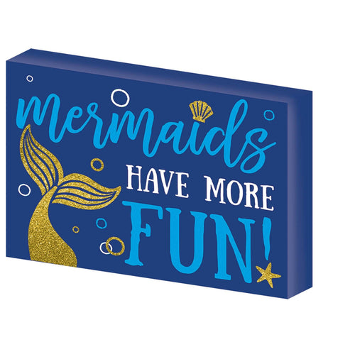 AMSCAN Luau Glitter Mermaid Block Sign