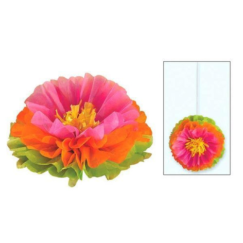 Amscan Luau Hibiscus Fluffy Flower Decorations 3ct