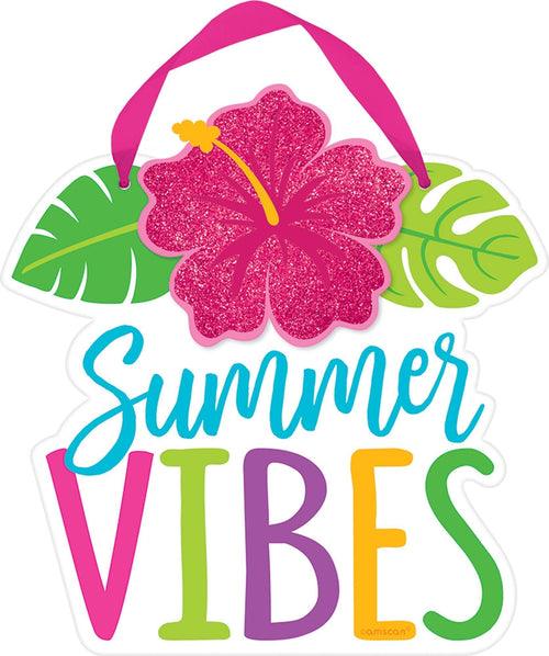 AMSCAN Luau Hibiscus Summer Vibes Sign
