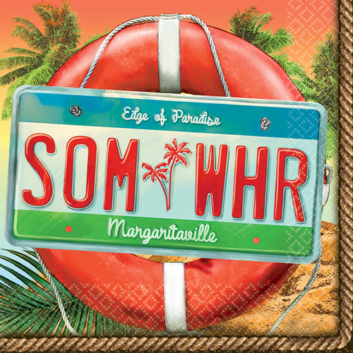 "AMSCAN Luau Margaritaville ""Somewhere"" Beverage Napkins 36ct"