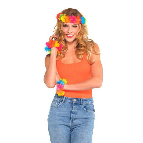 AMSCAN Luau Neon Head & Wrist Flower Lei Set 3pc
