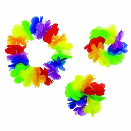 Amscan Luau Rainbow Hawaiian Accessory Kit 3pc
