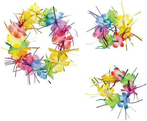 AMSCAN Luau Rainbow Tinsel Head & Wrist Flower Lei Set 3pc