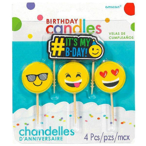 Amscan Party Supplies Emoji Icon Birthday Candles 4pc