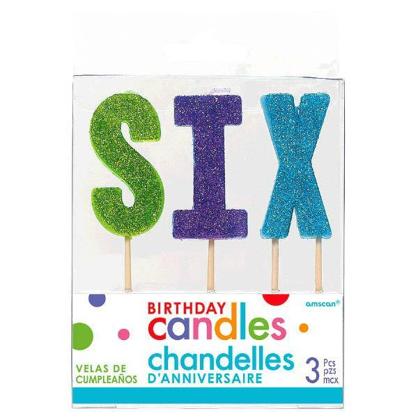 "Amscan Party Supplies ""S-I-X"" Glitter Candles"