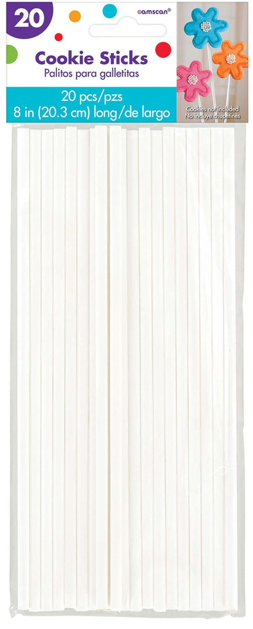 AMSCAN Party Supplies White Cookie Sticks 20ct