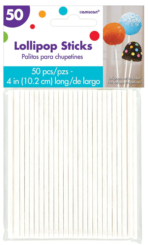 AMSCAN Party Supplies White Lollipop 4 Inch Sticks 50ct