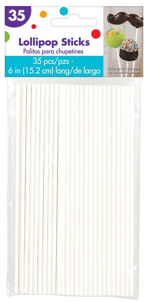 AMSCAN Party Supplies White Lollipop 6 Inch Sticks 35ct