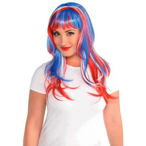 Amscan Patriotic Glamorous Long Red, White & Blue Wig