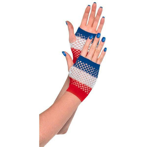 Amscan Patriotic Red, White & Blue Fishnet Glovelettes