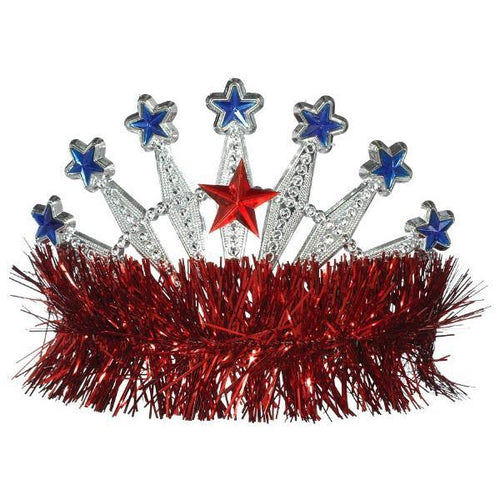 Amscan Patriotic Red, White & Blue Star Tinsel Tiara