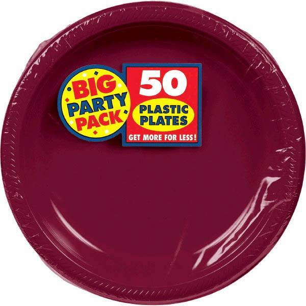 "Amscan SOLIDS Berry Big Party Pack Plastic Plates, 10 1/4"" - 50ct"
