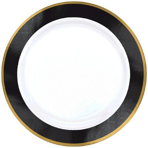 Amscan Solids Black & Gold Premium Plastic Dinner 10.5 Inch Plates - 10ct