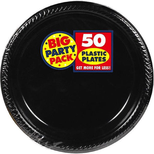 "Amscan SOLIDS Black Plastic Dinner Plates 10 1/4"" - 50ct"