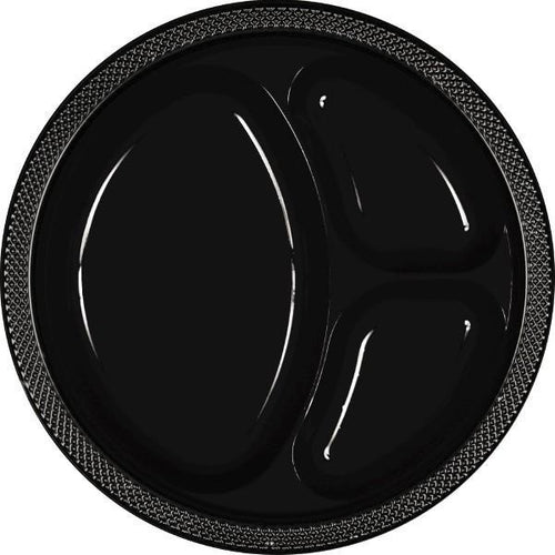 Amscan SOLIDS Black Plastic Divided Dinner Plates 20ct
