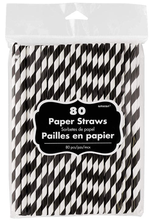 Amscan Solids Black Striped Paper Straws 80ct