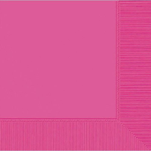 Amscan SOLIDS Bright Pink Beverage Napkins 3Ply 50ct