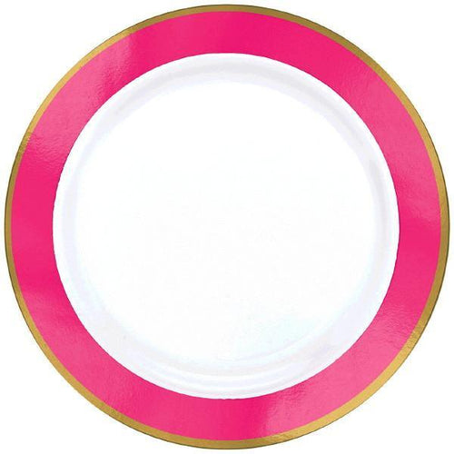 Amscan Solids Bright Pink & Gold Premium Plastic Dinner 10.5 Inch Plates - 10ct
