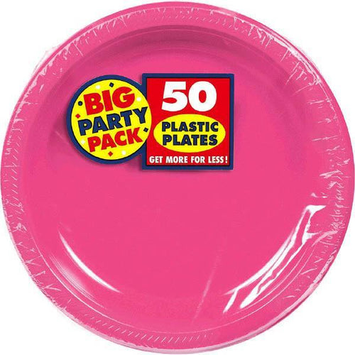 "Amscan SOLIDS Bright Pink Plastic Dinner Plates 10 1/4"" - 50ct"