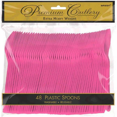Amscan SOLIDS Bright Pink Premium Heavy Weight Plastic Spoons 48ct