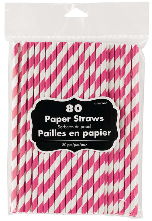 Amscan Solids Bright Pink Striped Paper Straws 80ct