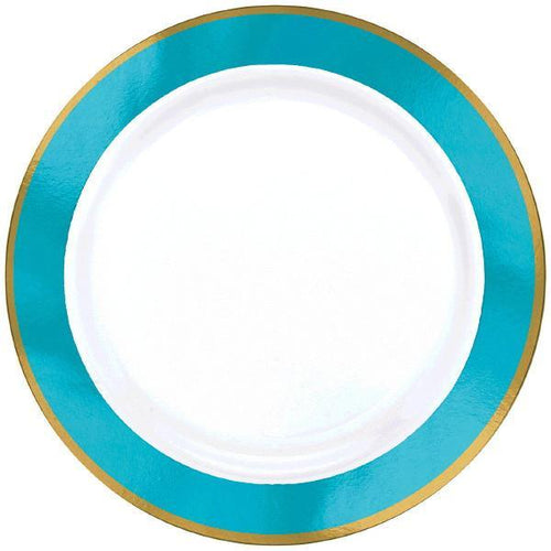 Amscan Solids Caribbean Blue & Gold Premium Plastic Dinner 10.5 Inch Plates - 10ct