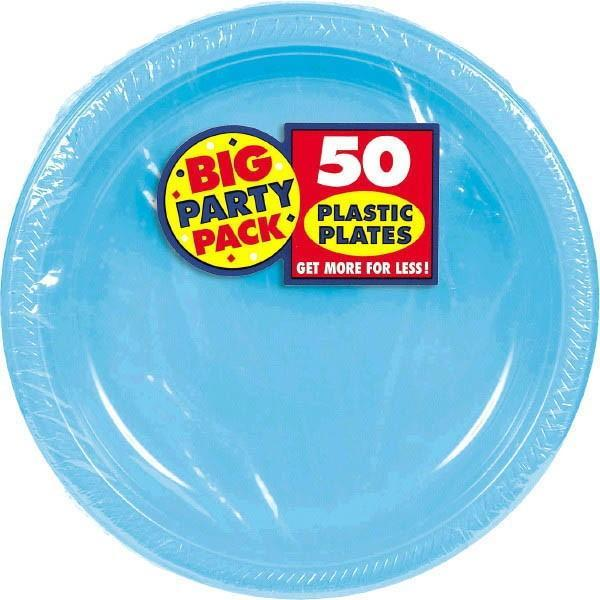 "Amscan SOLIDS Caribbean Blue Plastic Dinner Plates 10 1/4"" - 50ct"