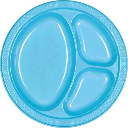 Amscan SOLIDS Caribbean Blue Plastic Divided Dinner Plates 20ct