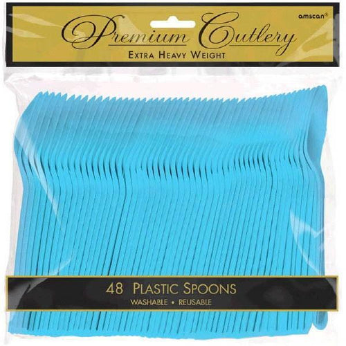 Amscan SOLIDS Caribbean Blue Premium Heavy Weight Plastic Spoons 48ct