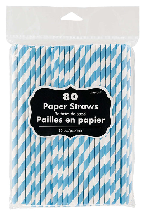 Amscan Solids Caribbean Blue Striped Paper Straws 80ct