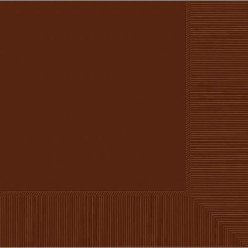 Amscan SOLIDS Chocolate Brown Beverage Napkins 3Ply 50ct