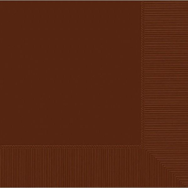 Amscan SOLIDS Chocolate Brown Lunch Napkins 3Ply 50ct