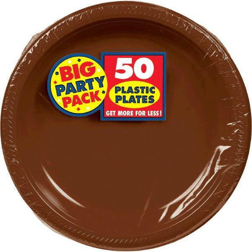 "Amscan SOLIDS Chocolate Brown Plastic Dinner Plates 10 1/4"" - 50ct"