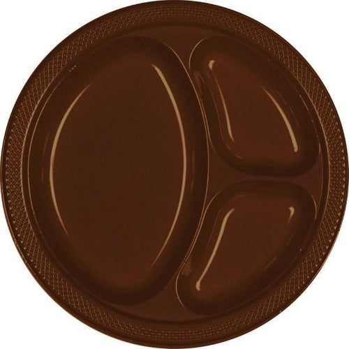 Amscan SOLIDS Chocolate Brown Plastic Divided Dinner Plates 20ct