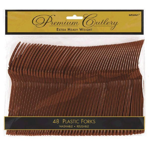 Amscan SOLIDS Chocolate Brown Premium Plastic Forks 48ct