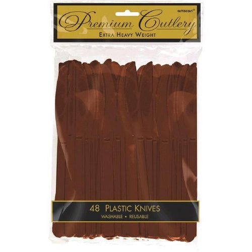 Amscan SOLIDS Chocolate Brown Premium Plastic Knives - 48ct