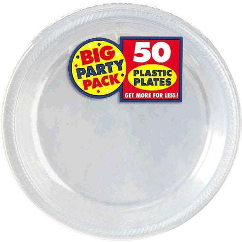Amscan SOLIDS Clear Big Party Pack Plastic Dessert Plates 50ct