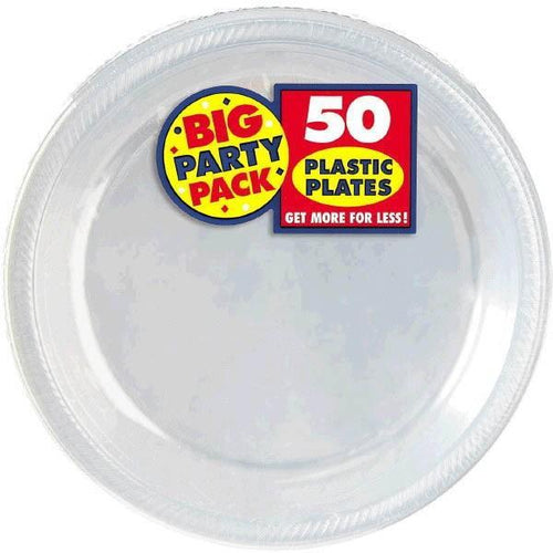 "Amscan SOLIDS Clear Plastic Dinner Plates 10 1/4"" - 50ct"